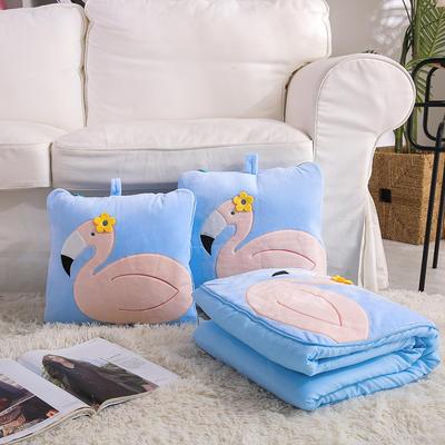治愈系列抱枕被/毯 毯子款 花朵火烈鸟蓝