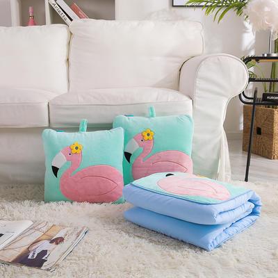 治愈系列抱枕被/毯 毯子款 花朵火烈鸟绿