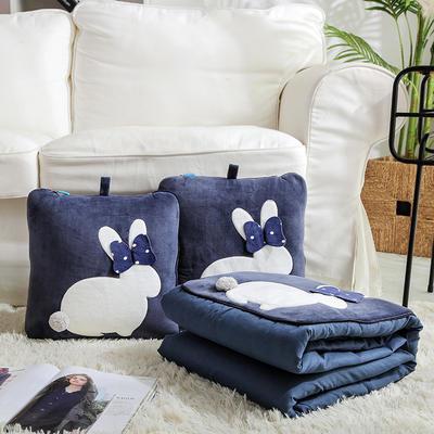 治愈系列抱枕被/毯 毯子款 暖兮小兔藏青