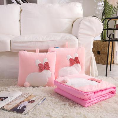 治愈系列抱枕被/毯 毯子款 暖兮小兔粉