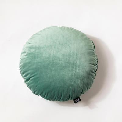 纯色意大利绒抱枕靠垫 40X40cm 奢华绿圆形(直径40cm,不带纽扣)
