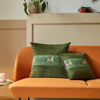 爱马仕高奢系列抱枕被 50X50cm 松林绿