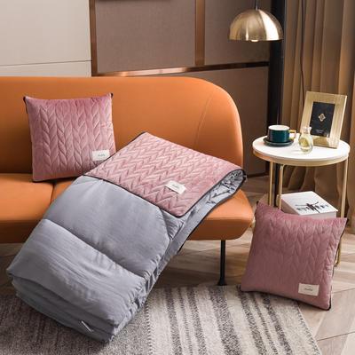 丝绒高奢系列抱枕被 50X50cm 露娜粉