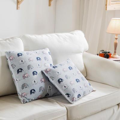 全活性小卡通全棉抱枕被 50X50cm 大象-灰