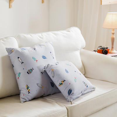 全活性小卡通全棉抱枕被 50X50cm 鱼趣