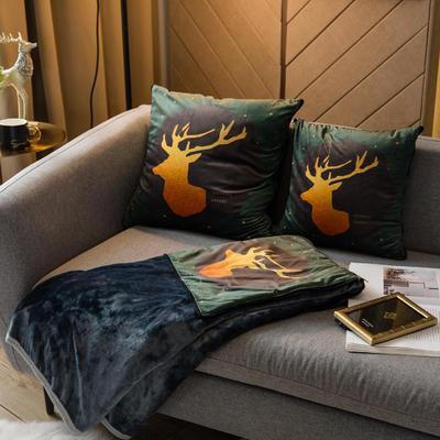北欧风印花毛毯抱枕毯 45x45cm 芙兰尼