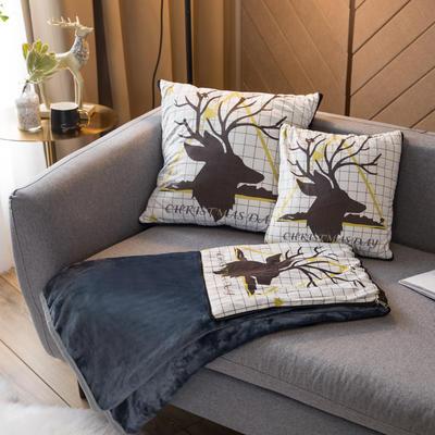 北欧风印花毛毯抱枕毯 45x45cm 三角鹿