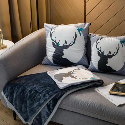 北欧风印花毛毯抱枕毯 45x45cm 桑普森