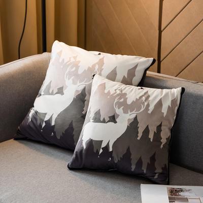 北欧风印花毛毯抱枕毯 45x45cm 森林麋鹿