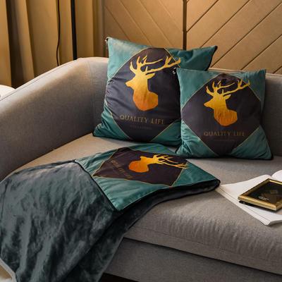 北欧风印花毛毯抱枕毯 45x45cm 西里里