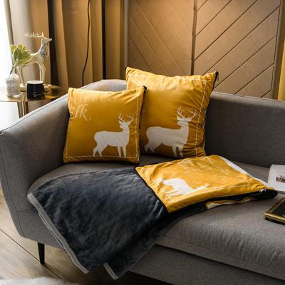 北欧风印花毛毯抱枕毯 45x45cm 印象北欧黄