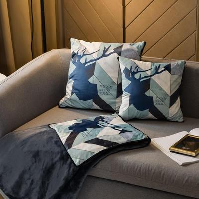 北欧风印花毛毯抱枕毯 45x45cm 悠蓝时光