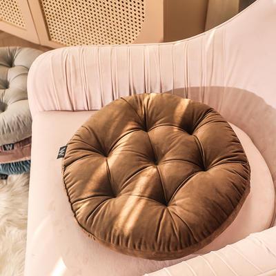 轻奢风圆形坐垫 直径42cm 咖啡