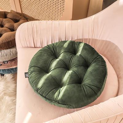 轻奢风圆形坐垫 直径42cm 墨绿