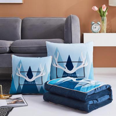 水晶超柔抱枕被新花型 50X50cm 蓝色幻想