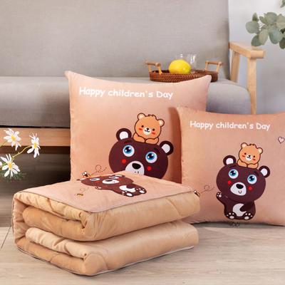 水晶超柔数码印花抱枕被 50X50cm 小熊仔