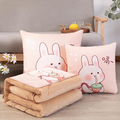 水晶超柔数码印花抱枕被 50X50cm 小兔子