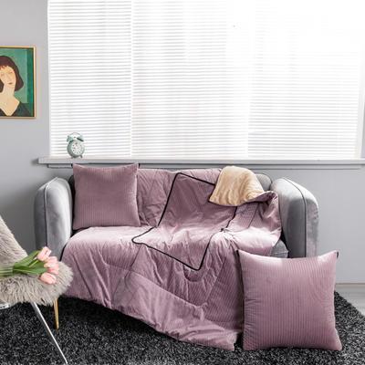 加绒加厚轻奢抽条双拼抱枕被 50X50cm 抽条-粉