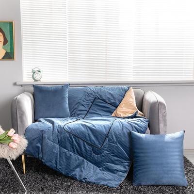 加绒加厚轻奢抽条双拼抱枕被 50X50cm 抽条-蓝