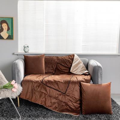 加绒加厚轻奢抽条双拼抱枕被 40X40cm 抽条-咖
