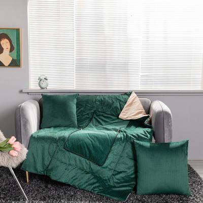 加绒加厚轻奢抽条双拼抱枕被 40X40cm 抽条-绿