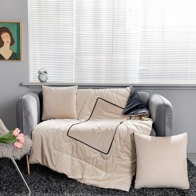 加绒加厚轻奢抽条双拼抱枕被 40X40cm 抽条-杏