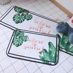 2018新款长条地垫和门垫 50×75 白底绿叶
