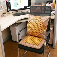 凉席坐垫靠垫一体夏天麻将办公室椅子座垫电脑竹席夏季透气椅垫 50×50靠垫(含芯) 纳米色