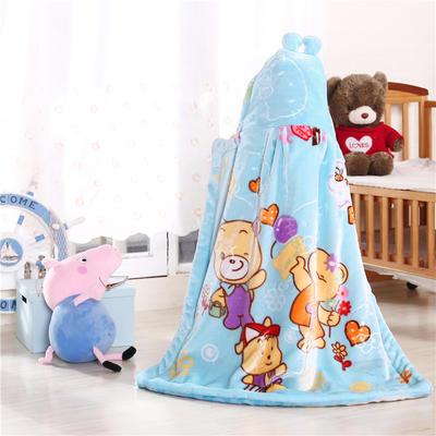 披风婴幼儿加厚外套儿童宝宝外出斗篷新生儿秋冬挡风被保暖披肩 天蓝