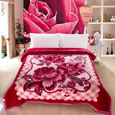 加厚双层双人拉舍尔婚庆大红双喜毛毯珊瑚绒法兰绒毯盖毯子11斤 200cmx230cm 孔雀红