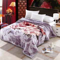 加厚双层双人拉舍尔婚庆大红双喜毛毯珊瑚绒法兰绒毯盖毯子11斤 200cmx230cm 601 灰