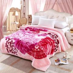 加厚双层双人拉舍尔婚庆大红双喜毛毯珊瑚绒法兰绒毯盖毯子11斤 240cmx220cm 601粉