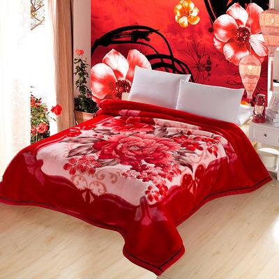 加厚双层双人拉舍尔婚庆大红双喜毛毯珊瑚绒法兰绒毯盖毯子11斤 200cmx230cm 601富贵红