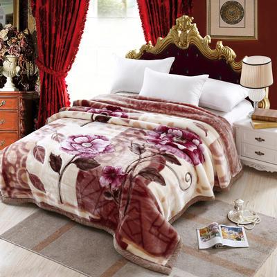 加厚双层双人拉舍尔婚庆大红双喜毛毯珊瑚绒法兰绒毯盖毯子11斤 200cmx230cm 601咖