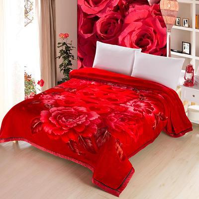加厚双层双人拉舍尔婚庆大红双喜毛毯珊瑚绒法兰绒毯盖毯子11斤 200cmx230cm 601双喜红