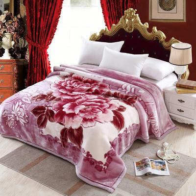 加厚双层双人拉舍尔婚庆大红双喜毛毯珊瑚绒法兰绒毯盖毯子11斤 200cmx230cm 601玉