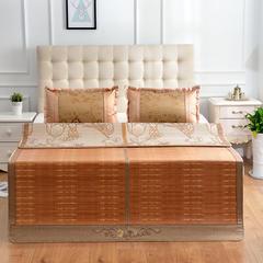 步步高升双面竹席凉席1.8m床1.5米夏季竹子折叠冰丝席两用单人双人席子 冰藤枕套1对 步步高升
