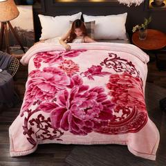 2018新款-波斯毯加厚双层冬季拉舍尔盖绒毯子结婚庆大红喜字双人毯 210×235cm±5cm 粉色
