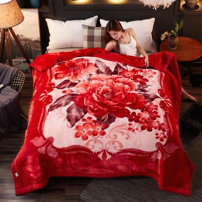2018新款-波斯毯加厚双层冬季拉舍尔盖绒毯子结婚庆大红喜字双人毯 210×235cm±5cm 富贵红