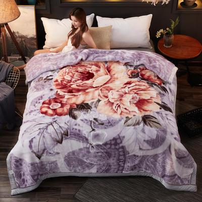 2018新款-波斯毯加厚双层冬季拉舍尔盖绒毯子结婚庆大红喜字双人毯 210×235cm±5cm 灰色