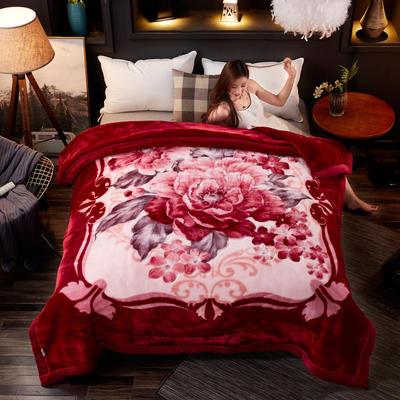 2018新款-波斯毯加厚双层冬季拉舍尔盖绒毯子结婚庆大红喜字双人毯 210×235cm±5cm 酒红