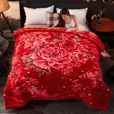 2018新款-波斯毯加厚双层冬季拉舍尔盖绒毯子结婚庆大红喜字双人毯 210×235cm±5cm 孔雀红