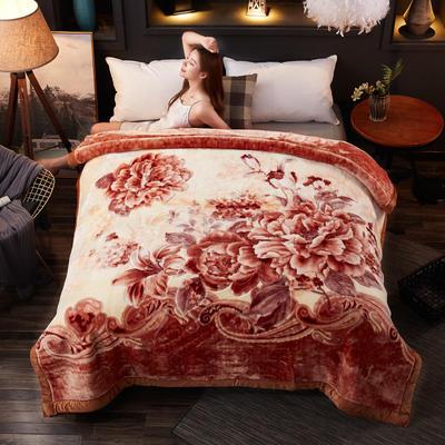 2018新款-波斯毯加厚双层冬季拉舍尔盖绒毯子结婚庆大红喜字双人毯 210×235cm±5cm 浅棕