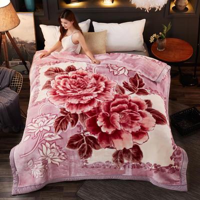 2018新款-波斯毯加厚双层冬季拉舍尔盖绒毯子结婚庆大红喜字双人毯 210×235cm±5cm 玉色