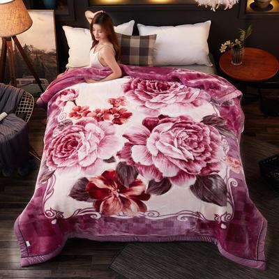 2018新款-波斯毯加厚双层冬季拉舍尔盖绒毯子结婚庆大红喜字双人毯 210×235cm±5cm 紫红