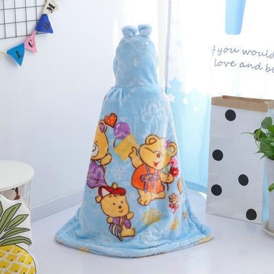 拉舍尔毛毯婴儿披风斗篷秋冬款加厚保暖新生婴幼儿童男女宝宝披肩 含帽高110cm宽95cm 三只熊 蓝色