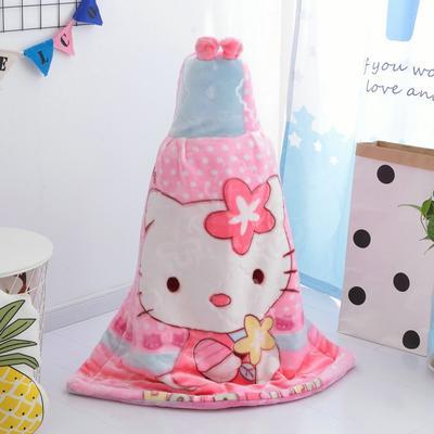 拉舍尔毛毯婴儿披风斗篷秋冬款加厚保暖新生婴幼儿童男女宝宝披肩 含帽高110cm宽95cm 小猫 粉色