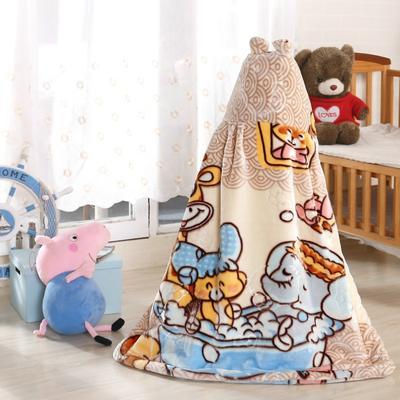 拉舍尔毛毯婴儿披风斗篷秋冬款加厚保暖新生婴幼儿童男女宝宝披肩 含帽高110cm宽95cm 小象洗澡 米色