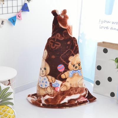 拉舍尔毛毯婴儿披风斗篷秋冬款加厚保暖新生婴幼儿童男女宝宝披肩 含帽高110cm宽95cm 熊孩子 棕色