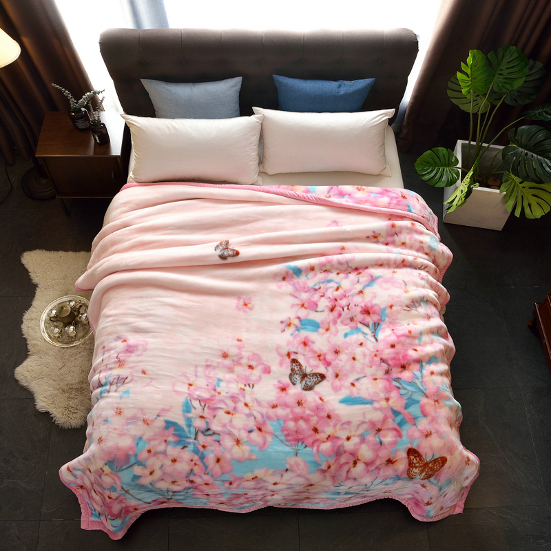 2018新款-摩洛歌拉舍尔毛毯加厚双层春冬夏季双人结婚庆盖毯大红绒毯子学生单人毯